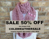 "Super Chunky Cowl Oversized Hand Knit Infinity Scarf in ""Blush"" Pink"