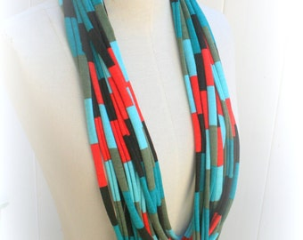 T-shirt Necklace Scarf,Unique handmade item, Color Block colorblock, Women Scarves, Gift For Best Friend, Trendy Fashion - by PIYOYO