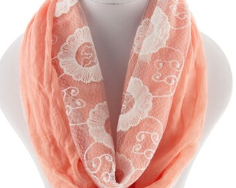 Lace  Womens Scarf,  summer soft Lace  Scarf, Gift women, large shawl, Peach Infinity Scarf, Women Scarf, spirng summer scarves - By PiYOYO