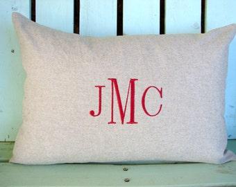 Monogram pillow cover-14 X 20 lumbar tan twill-initial- housewarming gift-decorative pillow cover-gifts under 40-throw pillow-accent pillow
