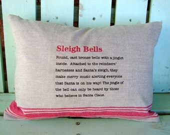 Sale 12x16 sleigh bells vintage christmas pillow- Holiday gift-decorative cover-gifts under 35-throw pillow-accent pillow