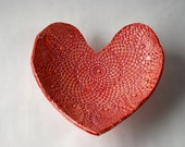 Handmade Red and Pink Heart Shaped Ceramic Dish