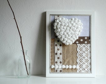 Framed heart fabric flowers home decor 3D design white cream brown
