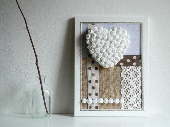 Quadro cuore decorazione casa fiori di stoffa cornice da muro for Cornici muro