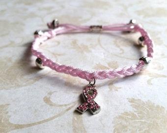 Breast cancer awareness bracelet, adjustable bracelet, beaded bracelet, braided bracelet