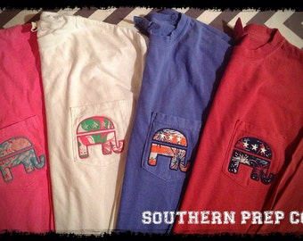 Comfort Colors LONG SLEEVE Republican Appliqued  Pocket Tee