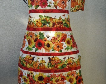 Autumn Fall apron with sunflowers, leaves and pumpkins. 100% Cotton. Free shipping.