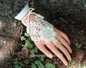 Flower Bracelet Ring Hand Jewelry Lace Wedding Bridal Gloves Hand Crochet Gloves Fingerless Gloves Slave Bracelet Jewelry
