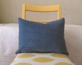Blue Gray Cotton Velvet Zippered Pillow Cover
