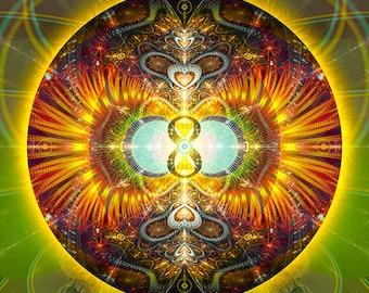 Original Mandala Abundancia, Abundance, Spiritual, Psy, Visionary, Sacred Geometry Art printed on high quality archival photopaper