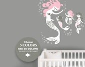 Mermaid Nursery Wall Decals -NCoordinates with Mermaid Crib Bedding in your Nursery - Pink Grey Nursery