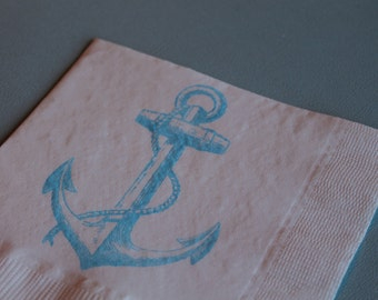 50 PAPER NAPKINS Ahoy Its A Boy Baby Shower Decor Nautical Baby Shower Decorations Nautical Wedding Napkins Boy Nautical Baby Shower Anchor