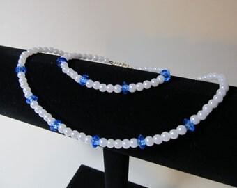 Blue and Pearl Flower girl Necklace & Bracelet Set