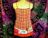 Clearance Sale Red Plaid Camisole Cotton Top Boho Gypsy Hippie Upcycled Upscaled Altered Clothing Eco Chic