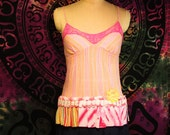 Clearance Striped Camisole Size S Vintage Lace Top Boho Gypsy Hippie Upcycled Upscaled Altered Clothing Eco Chic