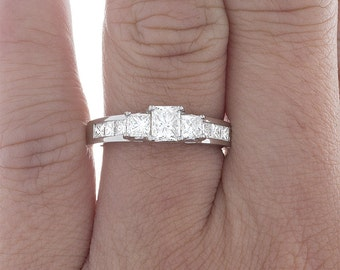 GIA Certified Diamond Anniversary Ring Princess Cut 18k White Gold 1.64 Carat