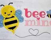 Bee Mine Applique EMBROIDERY DESIGN -instant download