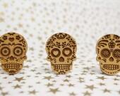 Cross Stitch Needle Minder, Sugar Skull designs, Wood Magnetic Needle Minder. Hand embroidery, Needle Keeper.