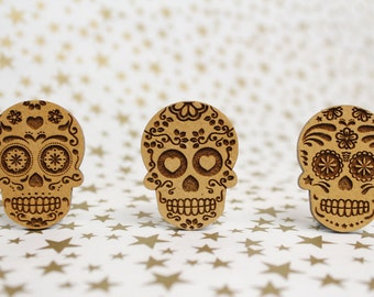 Cross Stitch Needle Minder, Sugar Skull designs, Wood Magnetic Needle Minder. Hand embroidery, Needle Keeper.
