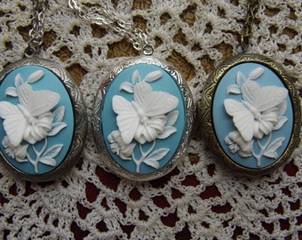 Kawaii Locket Blue & White Butterfly Cameo Ladies Silver Filegre art designer Necklace Pendant