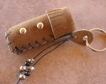 Lip Balm Case Brown Sued Leather Key Chain With Nickle Studs