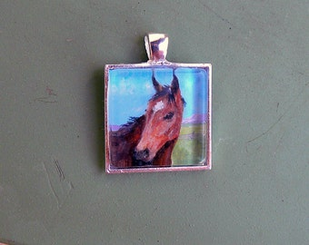 Custom Horse Portrait-Miniature Painting-Pendant Pet Jewlery-Pet Memorial-Dogs-Cats-Horses-Animals-Pet Keepsake-Horse Jewelry