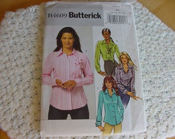 2008 Butterick Pattern 4609, Misses Loose Fitting Shirt, Blouse, Regular or French Cuffs, Feminine, Size 8-14, Bust 31 1/2 -36