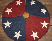 Quilted Christmas Tree Skirt 20, 30, 40 inch Americana Stars Primitive Country Plaid Check