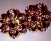Rare Vintage Fiery Pierced Amethyst  Rhinestone Crystal Rosette Gold Plated Earrings