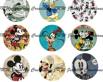 Disney Inspired Mickey 1 Inch Bottle Cap Images - Retro, Vintage