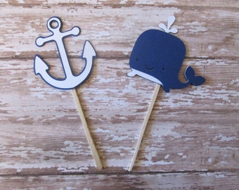 Navy and White Anchor and Whale Cupcake Toppers- Ahoy its a boy, baby showers, shower toppers, nautical cupcake, nautical baby showers