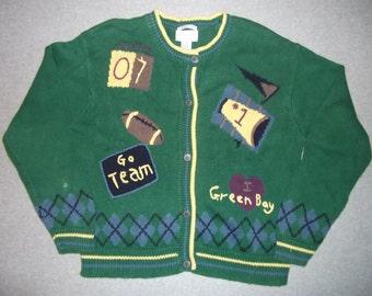 Green Bay Packers I Love Greenbay Sweater Wisconsin NFL Football Go Team Tacky Gaudy Ugly Christmas Party X-Mas Winter Warm Holiday M Medium