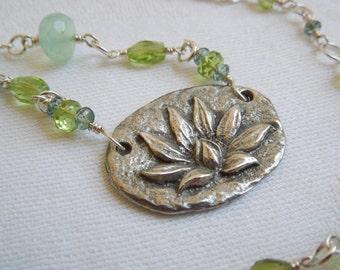 Lotus Necklace: Spring Green Gemstones- Enlightenment- Yoga Jewelry