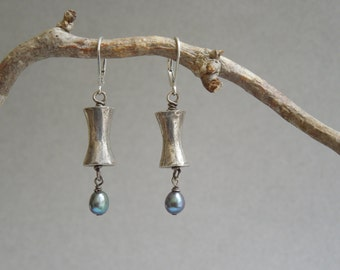 Hill Tribe Silver Dangle Earrings- Thai Hill Tribe Fine SIlver, Freshwater Peacock Pearls, Sterling Silver Lever Back Ear Wires