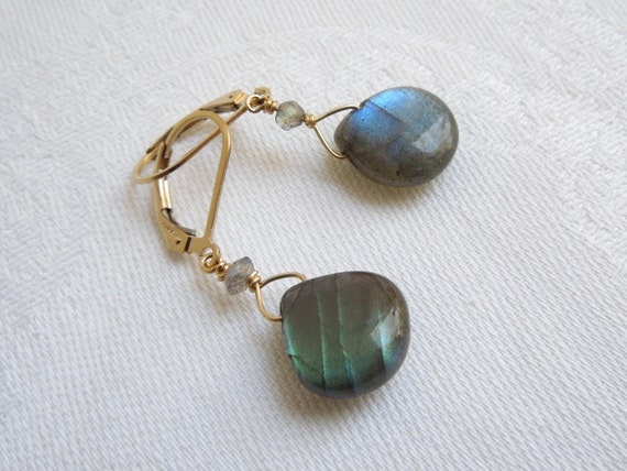 Labradorite Dangle Earrings: Exceptional Gold, Blue, Green Flash Gold Filled Wire