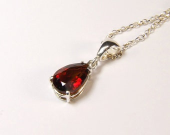 Citrine (Madeira Citrine), 11mm x 8mm x 1.98 Carat, Pear Cut, Sterling Silver Pendant Necklace