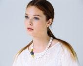 Asymmetrical Statement Necklace, Quartz Necklace, White Necklace, Stone Necklace