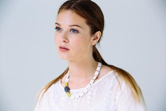 SALE 30% OFF - Asymmetrical Statement Necklace, Quartz Necklace, White Necklace, Stone Necklace