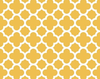 In Stock now-Quatrefoil Cotton-Mustard by Riley Blake- 1 yard