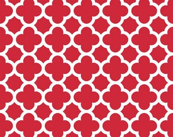 In Stock now-Quatrefoil Cotton-Red by Riley Blake- 1 yard