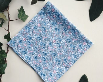 Floral Lawn Cotton Pocket Square in Blue