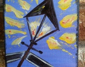 Original Acrylic, lamp post, painting, New Orleans, colorful, 5x5, canvas, blue, yellow, lantern,