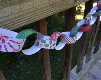 ON SALE Paper Chain Kit, DIY Children's Party Decor, Kids Craft, Party Supply Strips, Christmas Garland, Holiday Decoration