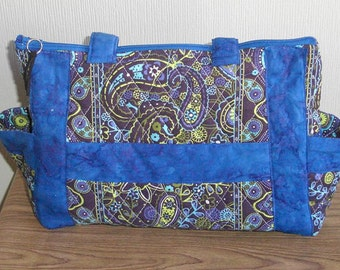 Quilted Purse, Medium Size Purse, With Royal Blue Trim
