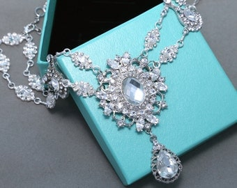 Vintage Style Classic Motif Dangle Bridal Wedding Chandelier Fashion Jewelry Marquise Rhinestone Crystals Chain Necklace
