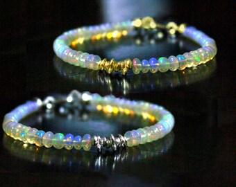Ethiopian Opal Bracelet, October Birthstone. Stacking Bracelet. Sterling silver or gold Filled