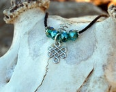 Celtic Knot Necklace, Emerald  Necklace, Green, Black, and Silver Necklace,  Irish Shield Necklace, Protection Necklace, Irish Necklace
