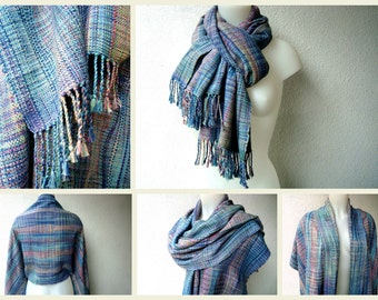 Unique Handwoven  Scarf / Wrap / Shawl,Silk , Shades of Blue and Pink