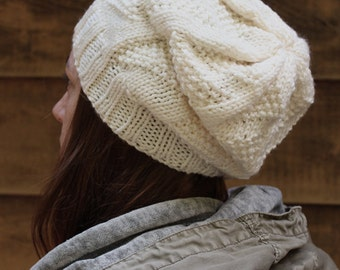 Inverness Hat - Cream knit slouchy style hat with triangle pattern - Ready to Ship