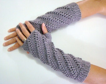 Gray Fingerless Mittens, Bamboo Wrist Warmers, Fingerless Gloves, Gray Bamboo Wristers, Long Gray Mittens,Long Gray Glove,Fingerless Mittens